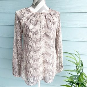 Banana Republic Sheer Snakeskin Blouse  X-Small